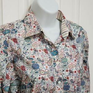 Thomas Pink Paisley Cotton Dress Shirt SZ 8